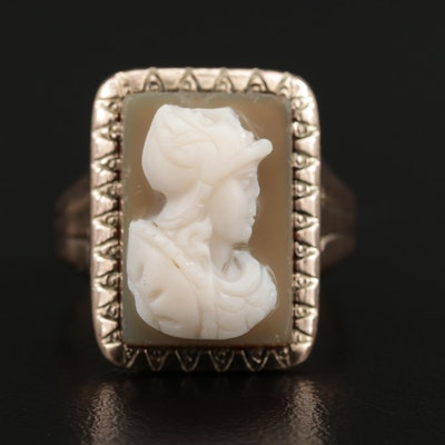 Vintage 10K Rose Gold Onyx Cameo Ring