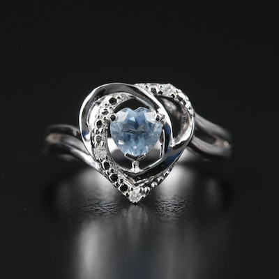 Sterling Silver Aquamarine and Diamond Ring
