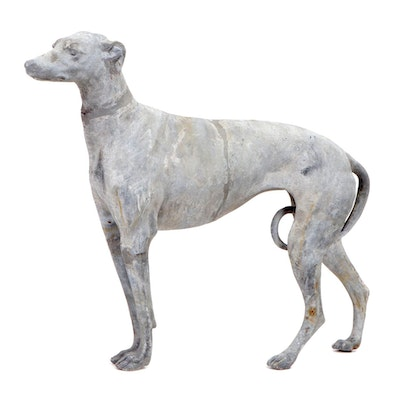 Cast Lead Life Size Greyhound Statue, Early 20th Century