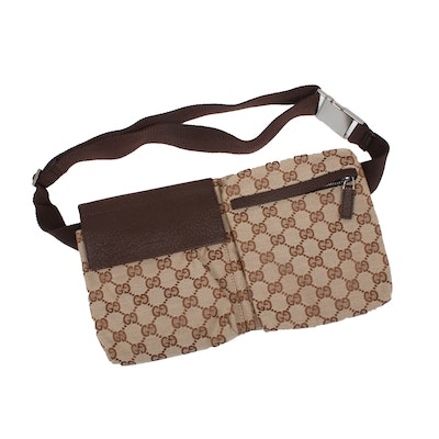 Gucci Belt Bag in Beige GG Canvas with Brown Textured Leather