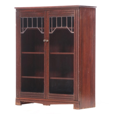Arts & Crafts Stained Wood Cabinet Bookcase, Early 20th Century