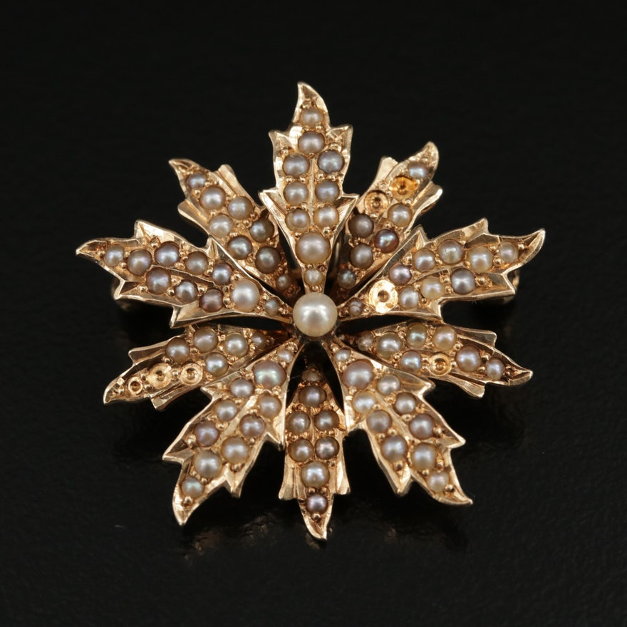 Circa 1900 14K Yellow Gold Seed Pearl Converter Pendant