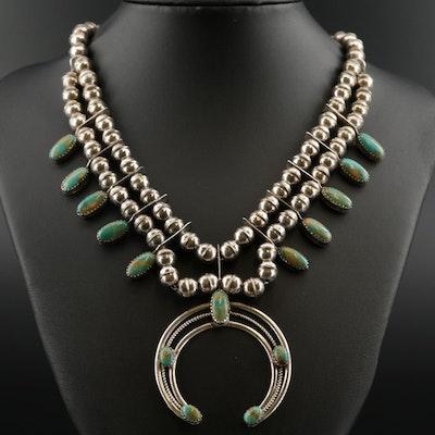 Phil Garcia Navajo Diné Sterling Silver Turquoise Naja Pendant Necklace