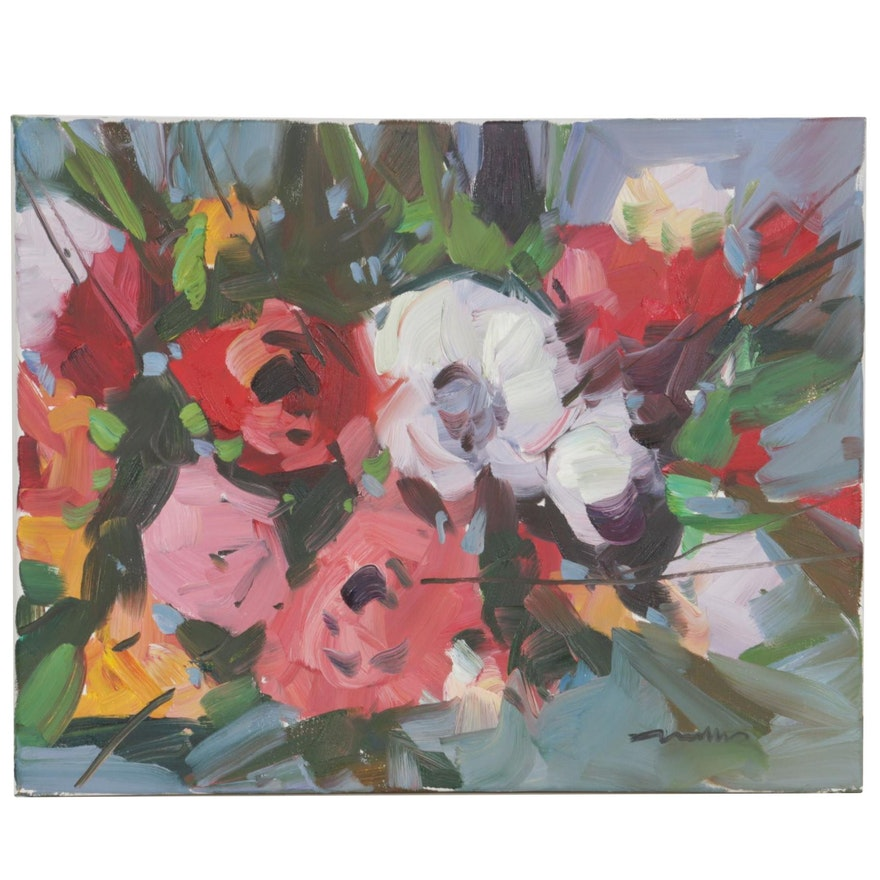 """Jose Trujillo Oil Painting """"Peonie Bush"""", 2020"""