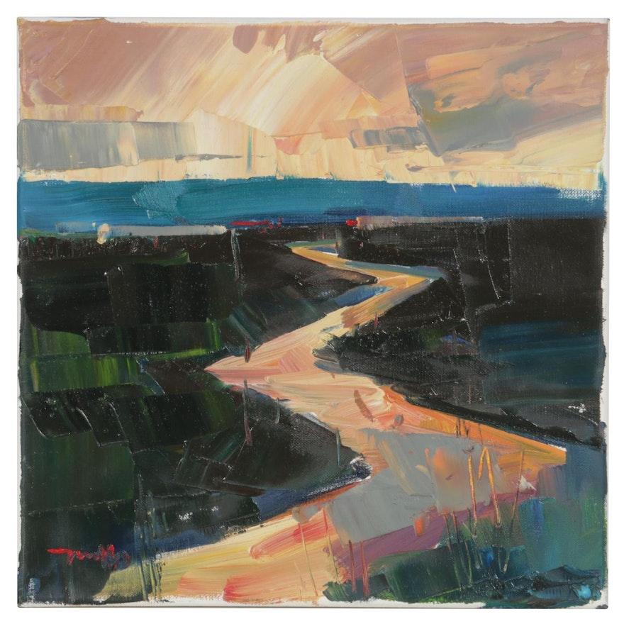 "Jose Trujillo Oil Painting ""Salmon Kissed Sunset"""