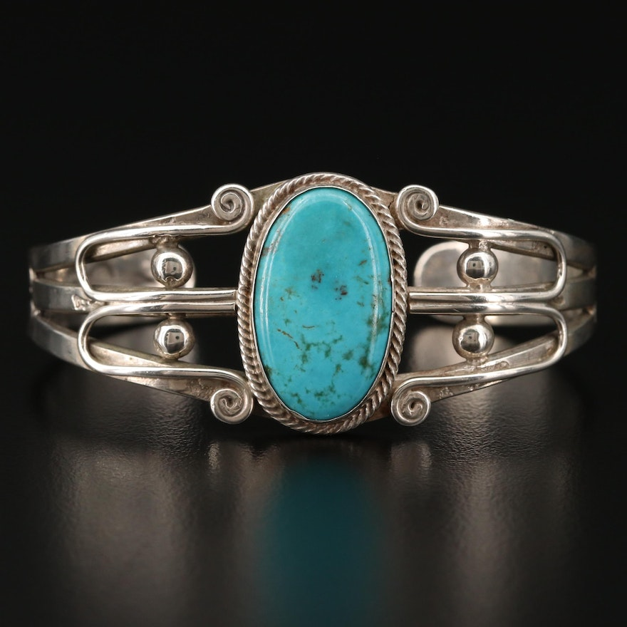 Sterling Silver Turqouise Southwestern Style Cuff Bracelet