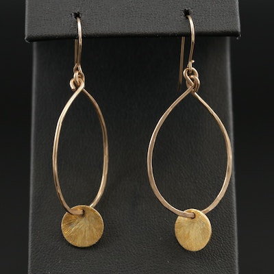 10K Yellow Gold Drop Earrings Featuring Sterling Silver Accents