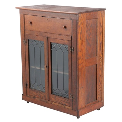 Arts & Crafts Oak Cupboard with Leaded Glass, Early 20th Century