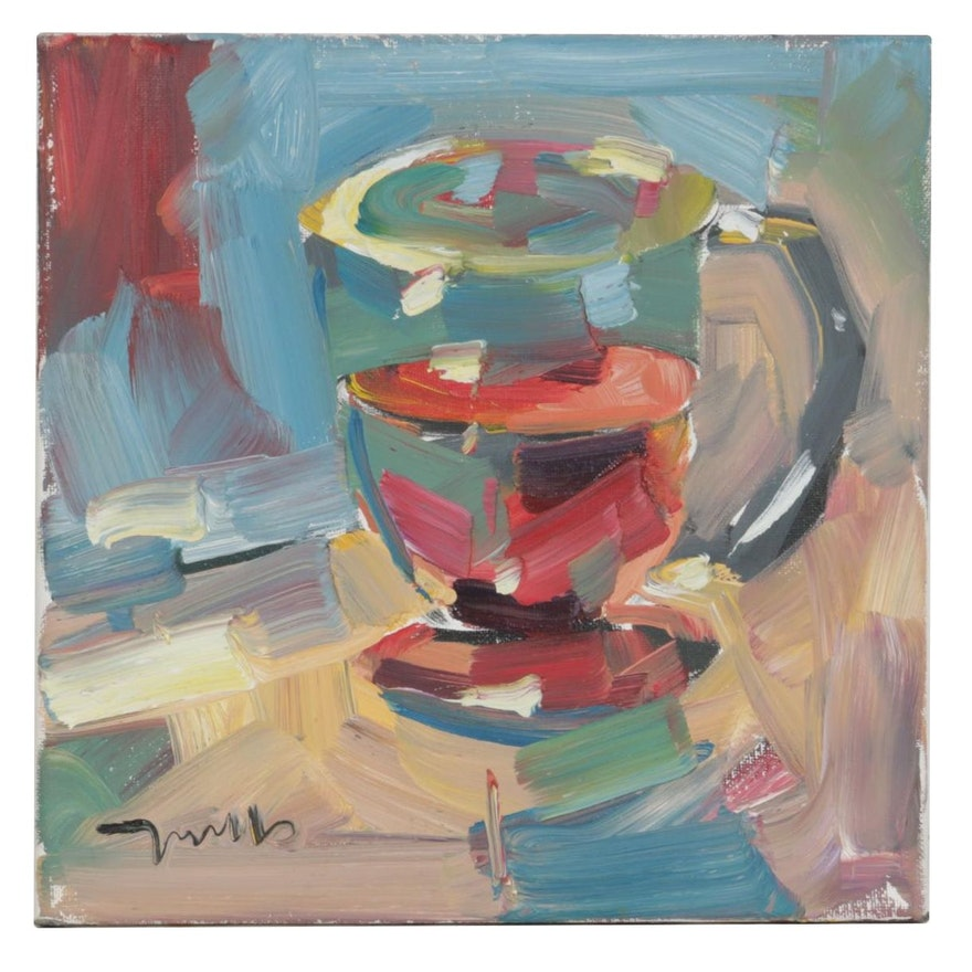 """Jose Trujillo Oil Painting """"The Cup of Tea"""""""