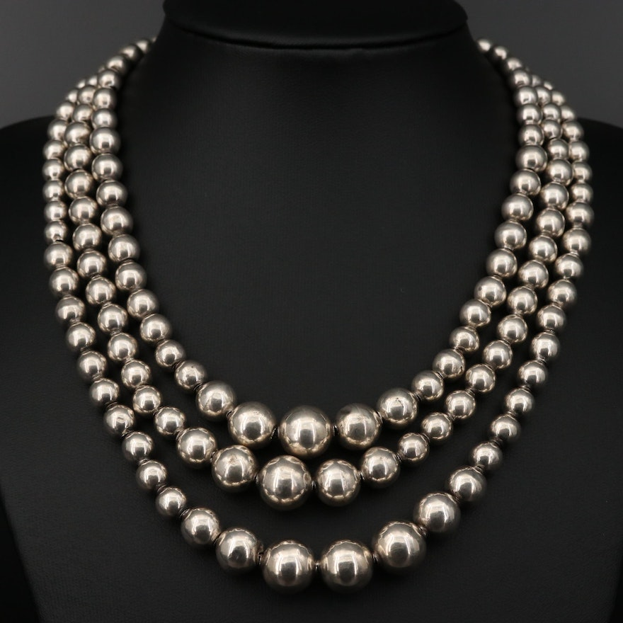 Mexican Sterling Silver Graduated Triple Strand Necklace