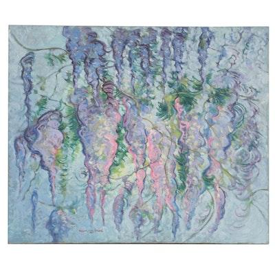 William Leon Stacks Oil Painting of Wisteria, 1983
