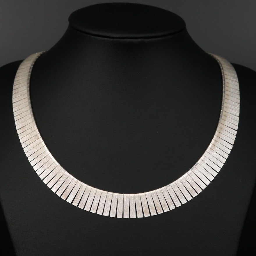 Sterling Silver Textured Panel Necklace