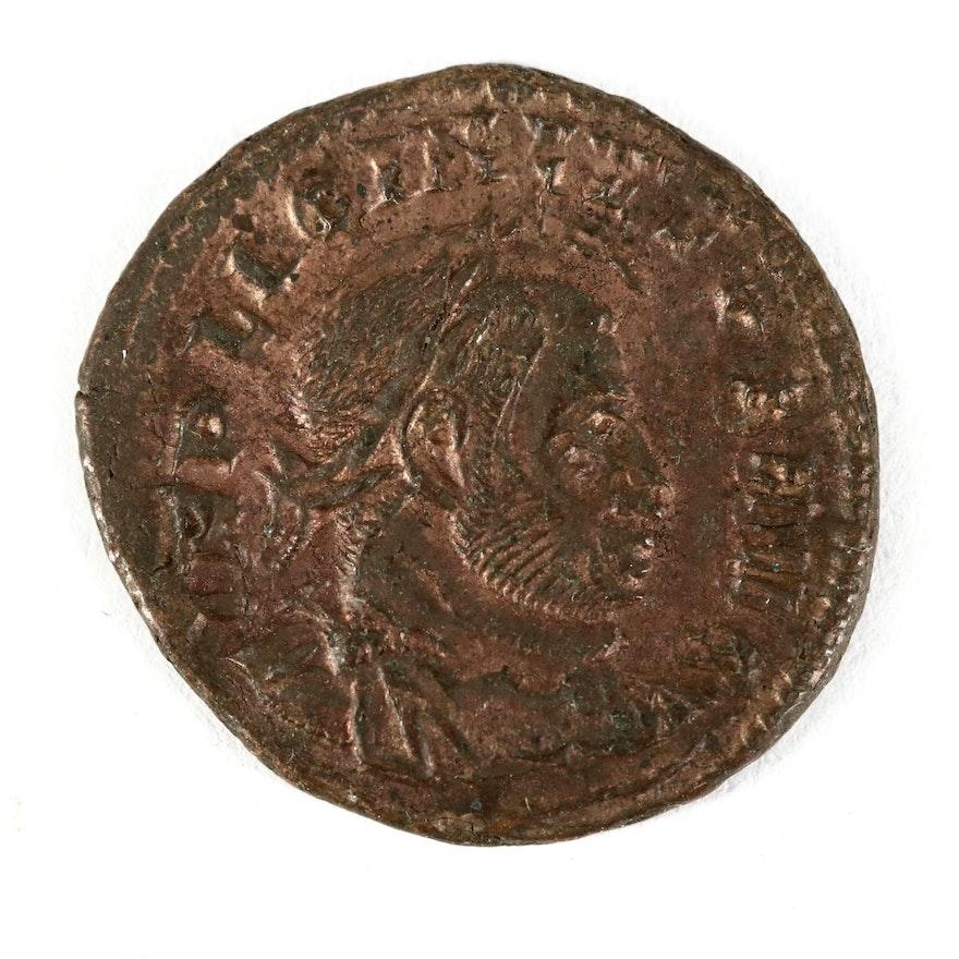 Double-Struck Ancient Roman Imperial AE Follis Coin of Licinius, ca. 314 A.D.
