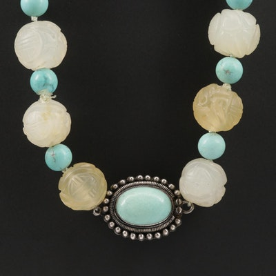 Sterling Silver Turquoise and Chalcedony Necklace