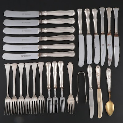 German 800 Silver Flatware and Sugar Tongs, Early to Mid 20th Century