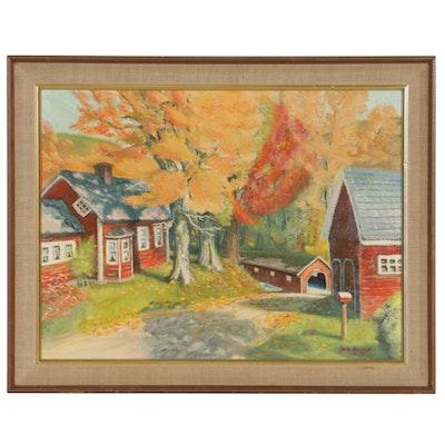 """John Kurowski Oil Painting """"Fall in Vermont"""", 1966"""