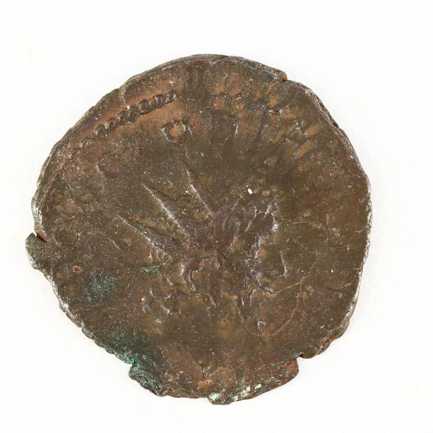Ancient Roman Imperial AE Antoninianus Coin of Victorinus, ca. 268 A.D.