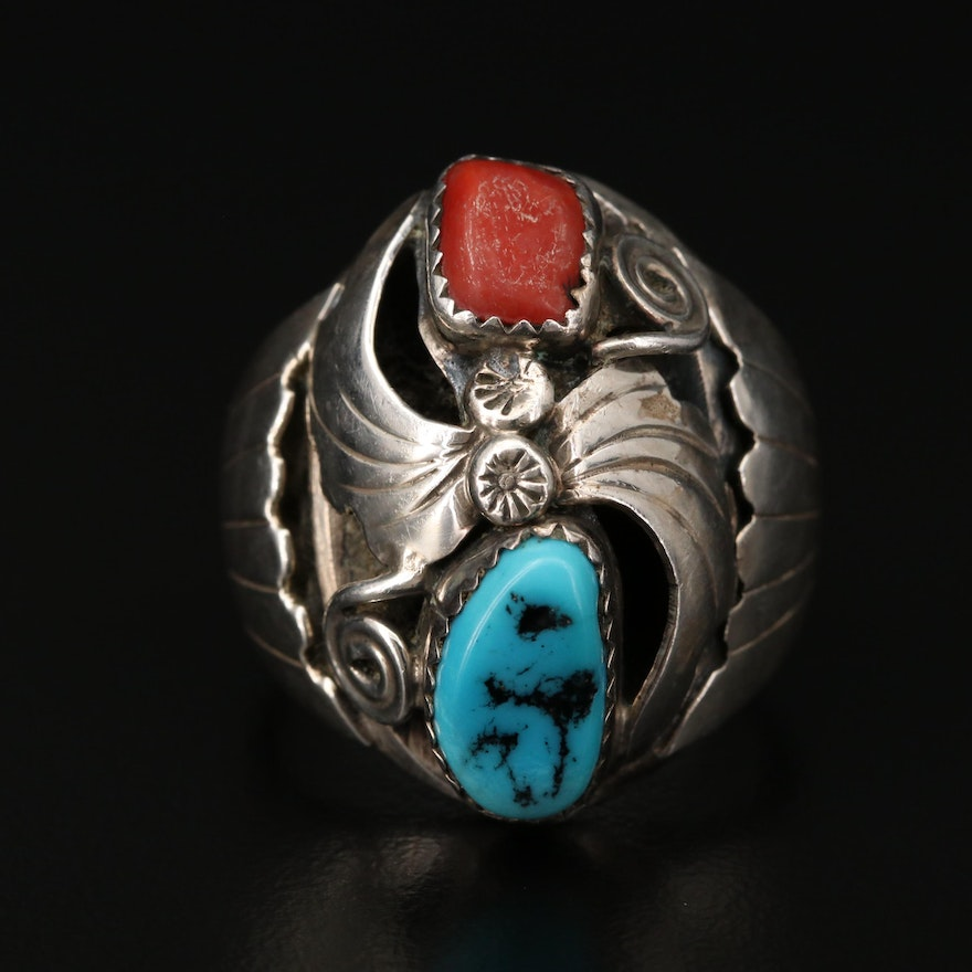 Southwestern Sterling Turquoise and Coral Ring with Applique Work