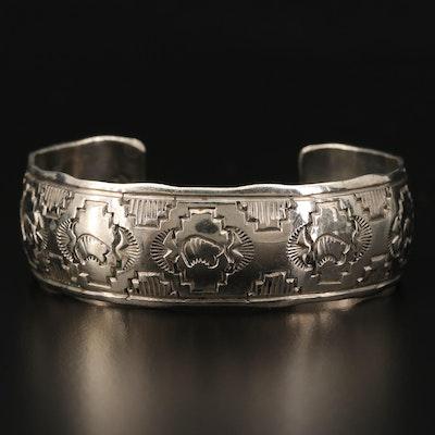 Sterling Silver Southwestern Style Cuff Bracelet