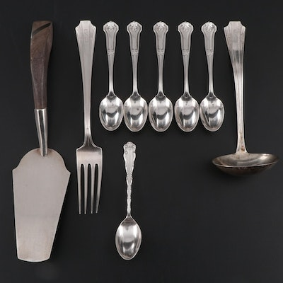"R. Wallace & Sons ""Corinthian"" Sterling Spoons with Other Sterling Utensils"