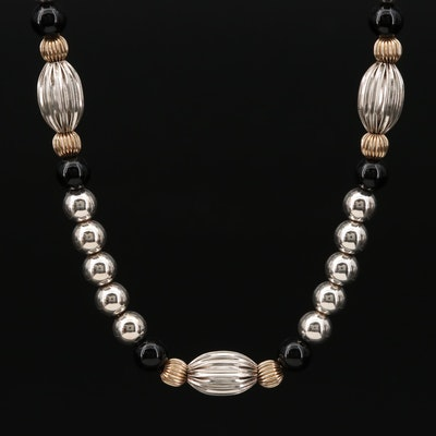 Dobbs Sterling Sterling Silver  Black Onyx Necklace with 14K Gold Accents