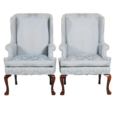 Pair of Sinclair Paisley Upholstered Wingback Chairs
