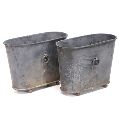 Cast Metal Orangery Planters with Rolled Rim and Ball Feet
