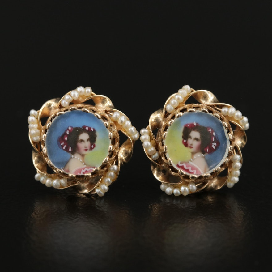 Vintage 14K Miniature Portrait Earrings with Seed Pearl Accents