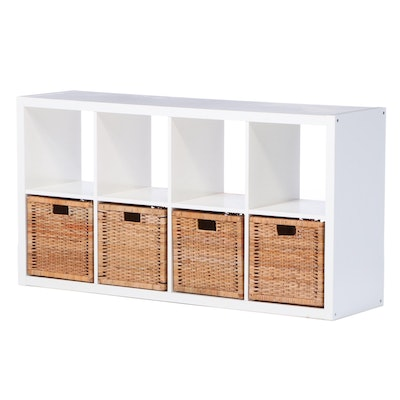 Contemporary Painted Wood and Woven Basket Storage Cube Cabinet