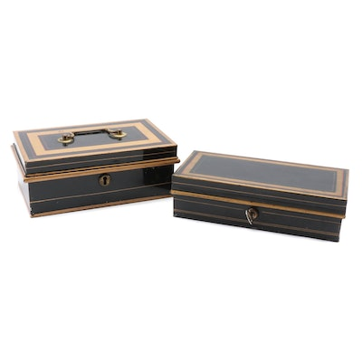 Two Victorian Tole-Painted Cash Boxes, Second Half 19th Century