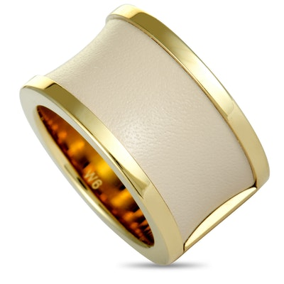 Calvin Klein Spellbound Yellow Gold PVD-Plated Stainless Steel and Rose Leather Ring