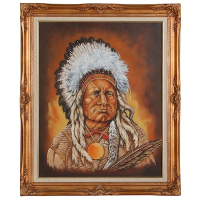 Joseph H. Asher Portrait Oil Painting of Native American