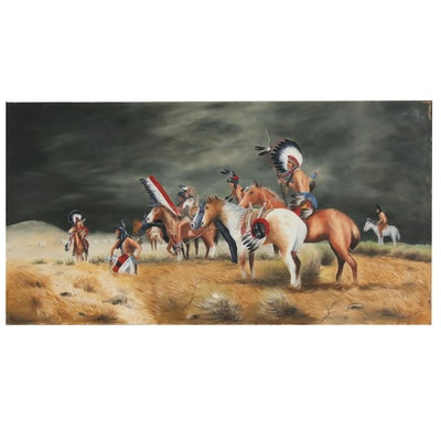 "Native American Genre Oil Painting After Frank McCarthy ""Watching the Wagons"""