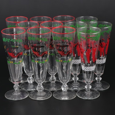 """Libbey """"Horseless Carriage"""" and """"The Good Old Days"""" Pilsner Glasses"""