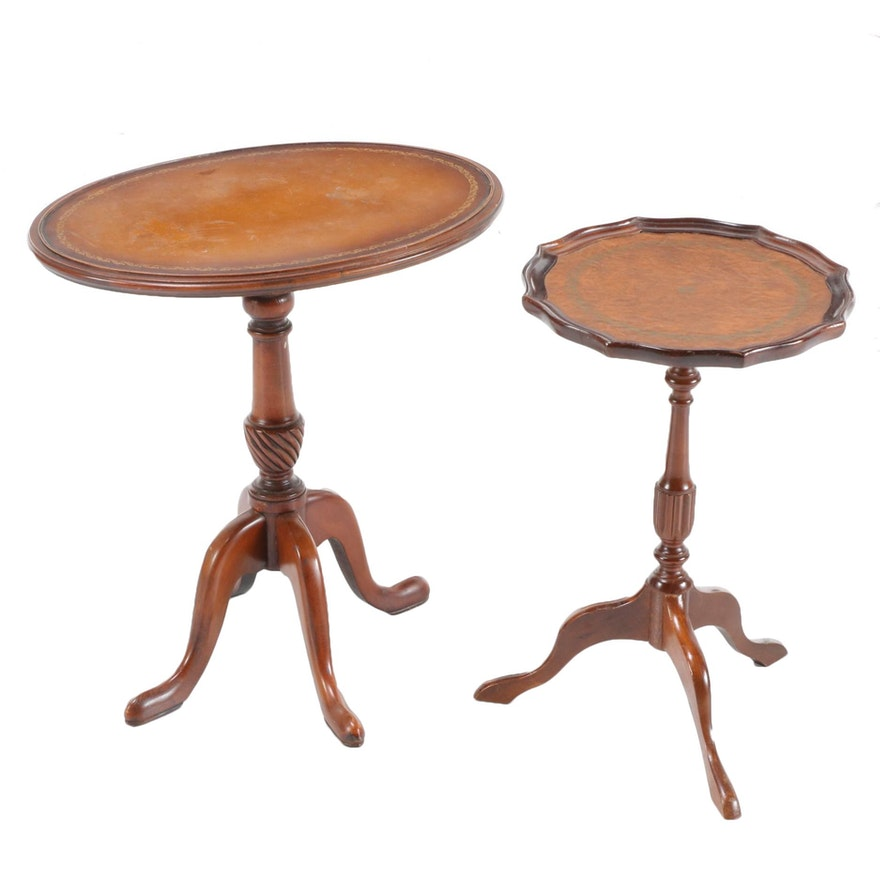 George III Style Mahogany Embossed Leather Top Candlestands, Mid-20th Century