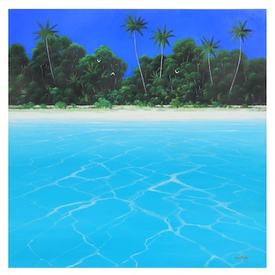"""Michael Taylor Oil Painting """"Tropical Hideaway"""""""