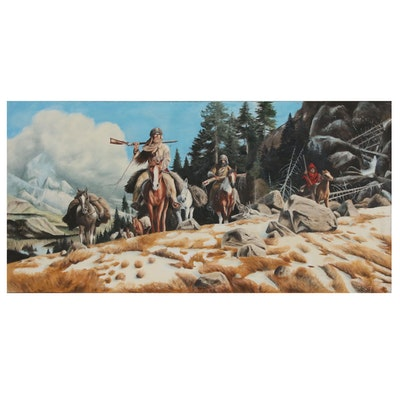 Western Genre Scene Oil Painting Attributed to Ernst Bartenberger of Trappers