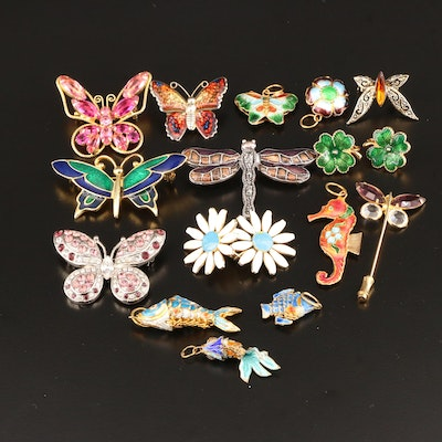 Assorted Jewelry for Springtime with Butterflies, Fish, Flowers and a Seahorse