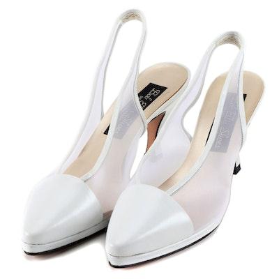 Bob Ellis Shoes Design Studio White Leather and Mesh Slingback Heels