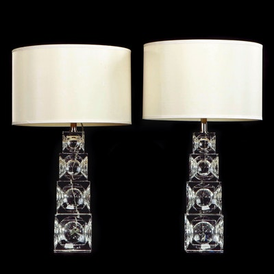 Simon Pearce Graduated Stacked Glass Cubes Table Lamp Pair