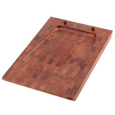 Digsmed Danish Modern Teak Butcher Block Carving Board, Late 20th Century