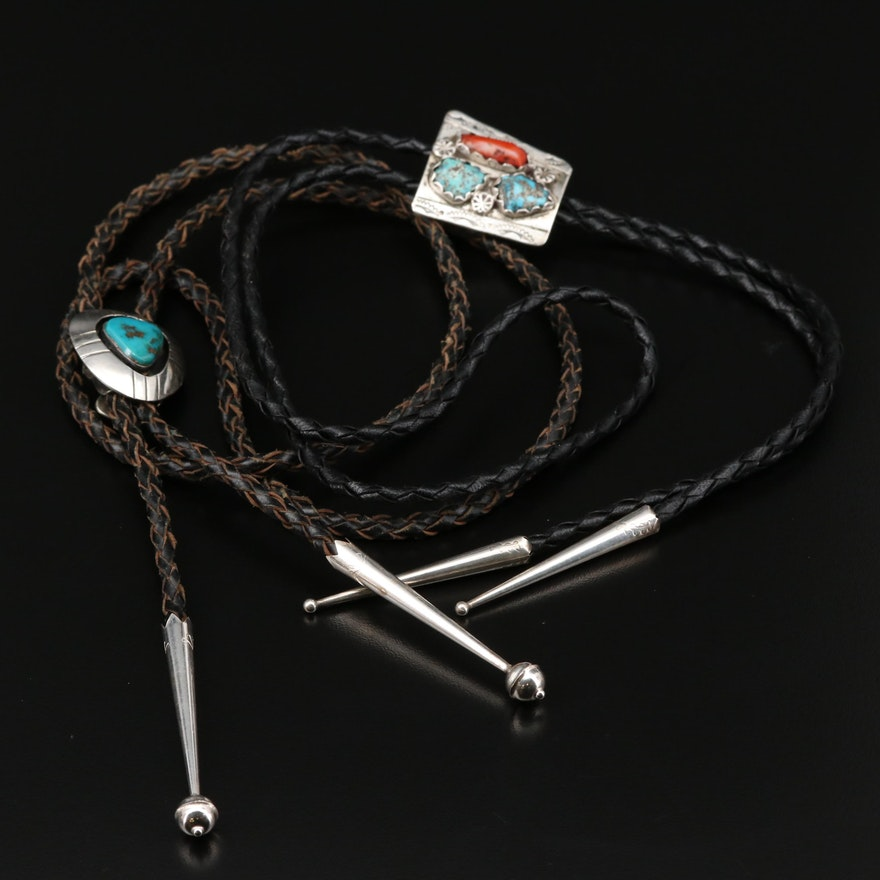 Sterling Silver Bolo Ties with Turquoise and Coral