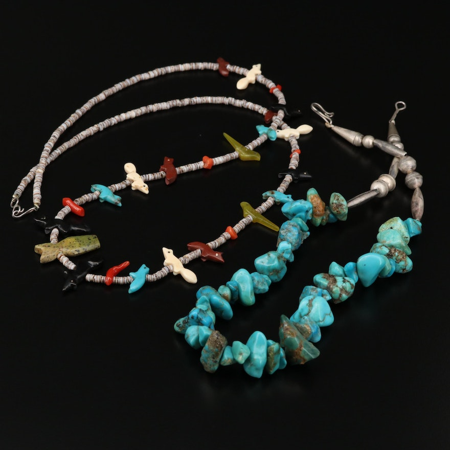 Sterling Silver Turquoise, Jasper and Shell Fetish and Beaded Necklace