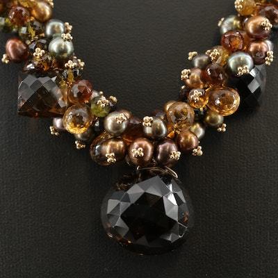 J. Daley Design 14K Yellow Gold Citrine and Smoky Quartz Bead Necklace