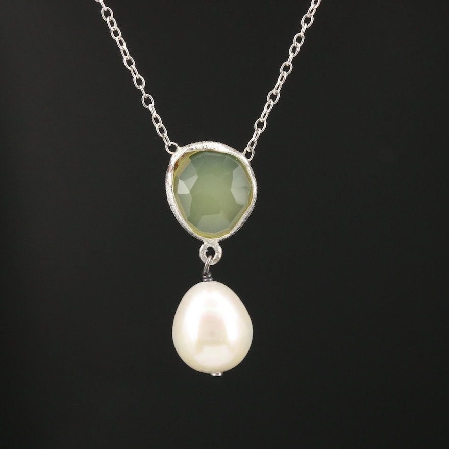 Sterling Silver Pearl and Citrine Lavalier Necklace