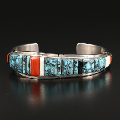 Tim Bedah Sr. Navajo Diné Sterling Cuff with Turquoise, Coral and Black Onyx