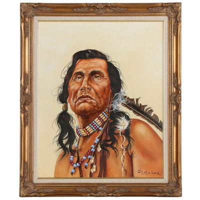 "Joseph H. Asher Portrait Oil Painting After James Bama ""Portrait of a Sioux"""