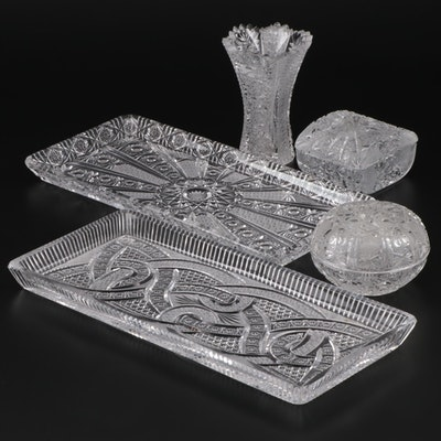 Austrian Cut Glass Trays, Vase and Trinket Dishes