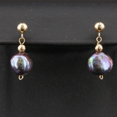 14K Yellow Gold Culture Baroque Pearl Drop Earrings