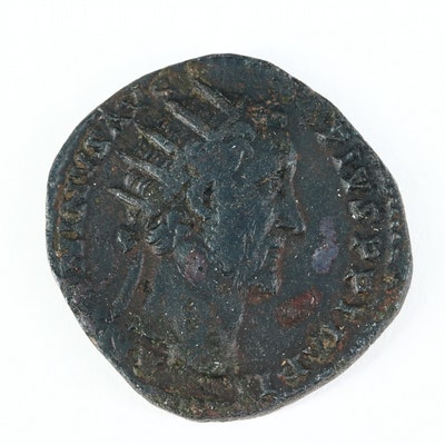 Ancient Roman Imperial AE Dupondius Coin of Antoninus Pius, ca. 156 A.D.